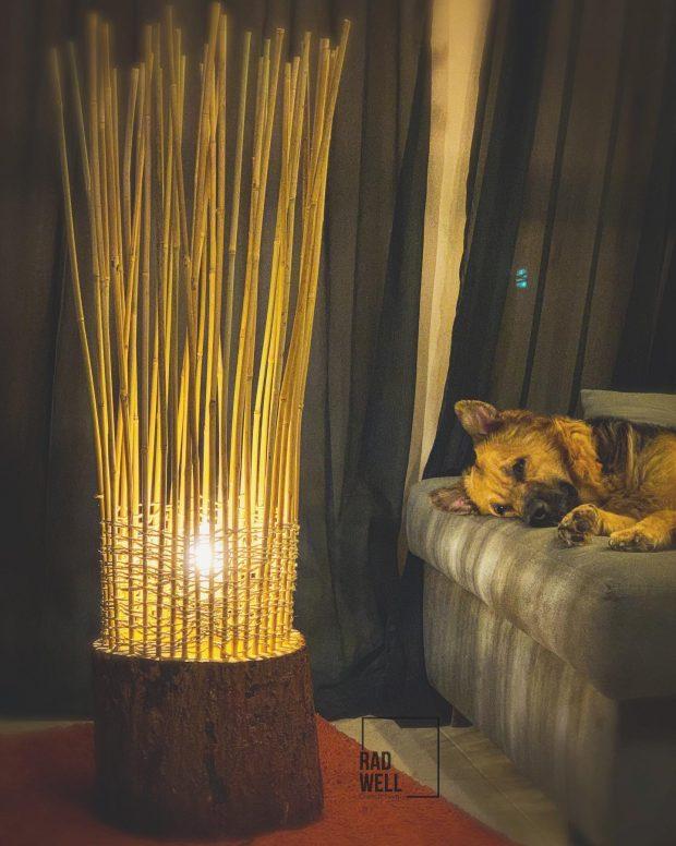tree trunk nest floor lamp
